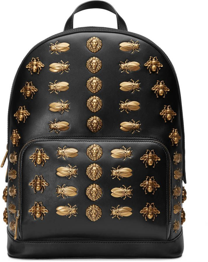81c7ee00100 Gucci Animal studs leather backpack
