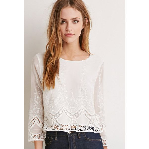 Forever 21 Embroidered Chiffon Top 30 Liked On Polyvore