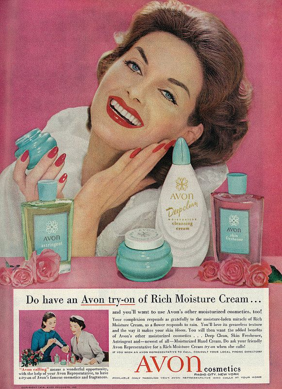 90c30b0300de 1958 Beauty Ad, Avon Cosmetics & Skin Care Products, with 1950's ...