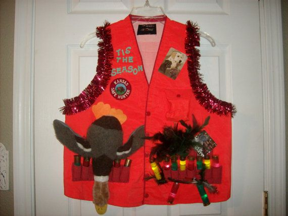 Ugly Christmas Sweater Vest LED Lights Hunting Duck Shot Gun ...