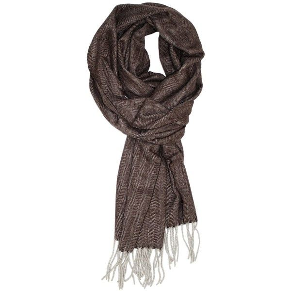Truman Sons Classic Cashmere Feel Herringbone Pattern Scarf (1,010 INR) found on Polyvore featuring accessories, scarves, fringe scarves, fringed shawls, cashmere scarves and cashmere shawl