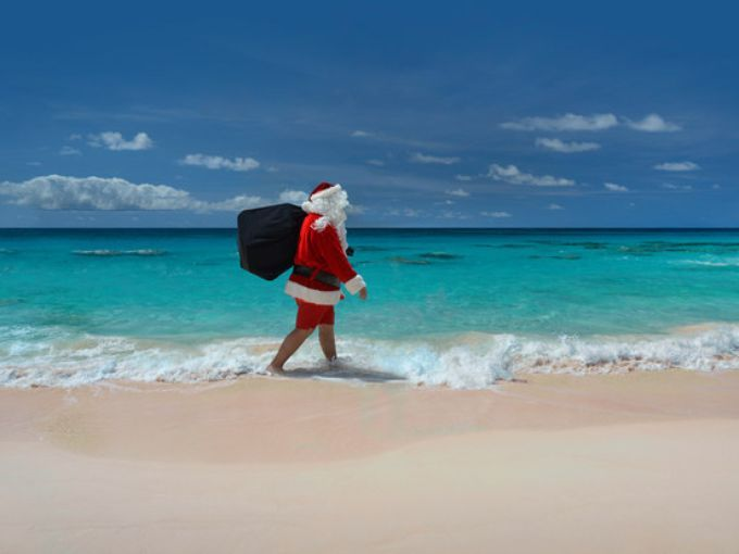 Even Santa wears Bermuda shorts on the beach when he's vacationing in the Caribbean.  Fairmont Hamilton Princess Bermuda