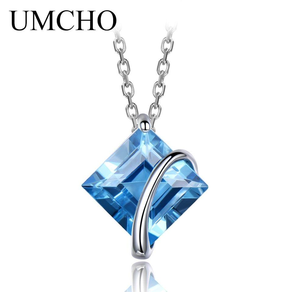 Gift For Her Blue Topaz Pendant Topaz Pendant Birthstone Solid 925 Sterling Silver Minimalist Pendant Silver Topaz Jewelry Handmade