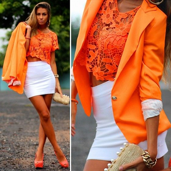 Miss Mimi Orange Blazer, Ligada Na Moda Clutch | Ton sur ton (by Vanessa Vasconcelos) | LOOKBOOK.nu