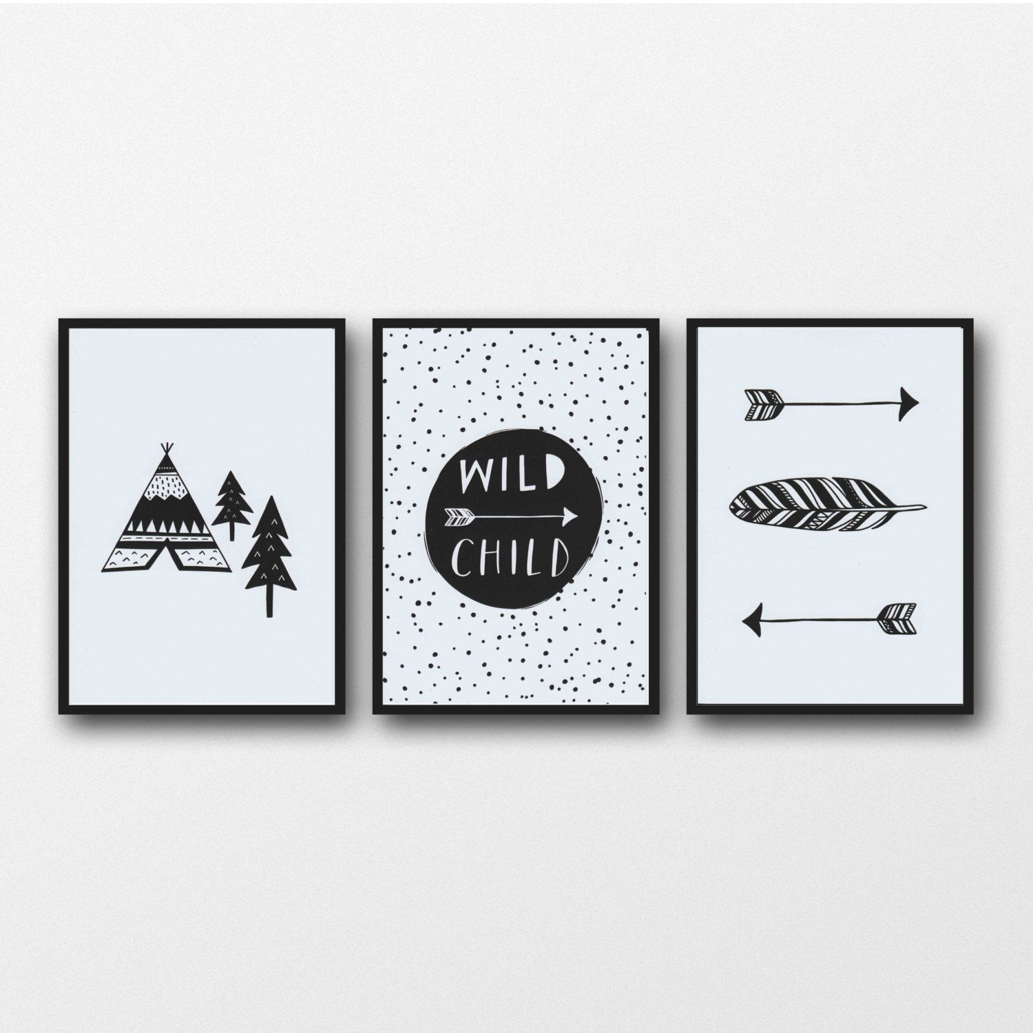 Monochrome print set of 3 prints monochrome nursery black and white print wild child nursery wall art boys room decor boy nursery art by violetandalfie on