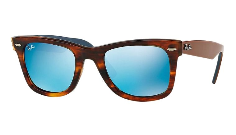 14184d2848 Ray-Ban Wayfarer Stripped Havana w/ Blue Mirror Lenses RB 2140 117617