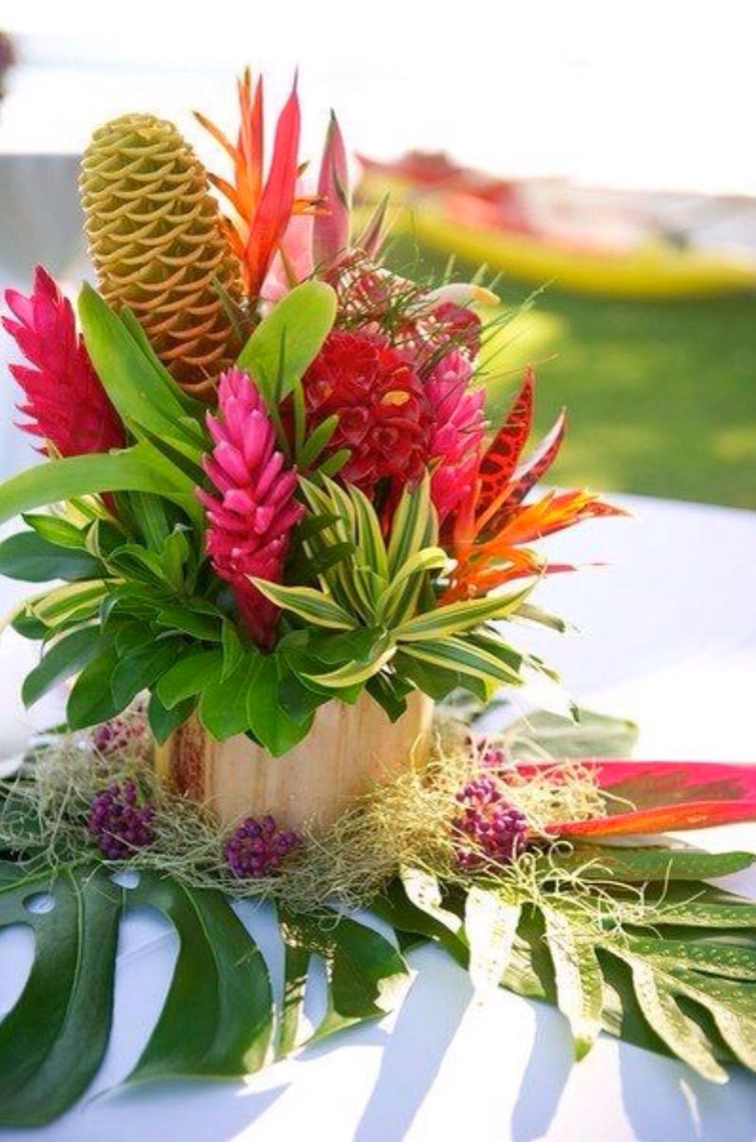 Bright and tropical flower centerpiece wedding