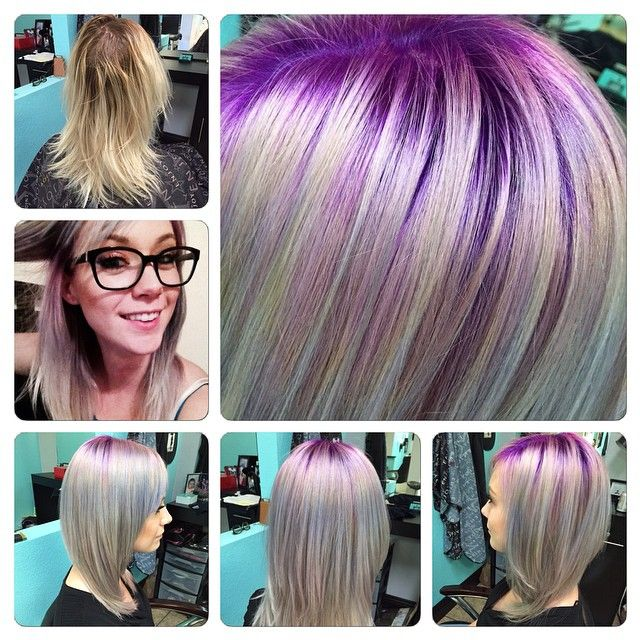 Blonde haare lila kleidung