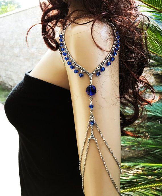 Photo of Royal Blue Arm Chain, Armlet, Shoulder Armor, Unique jewelry