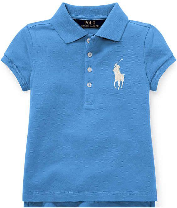 40383361 Polo Ralph Lauren Little Girls Big Pony Stretch Mesh Polo Shirt ...