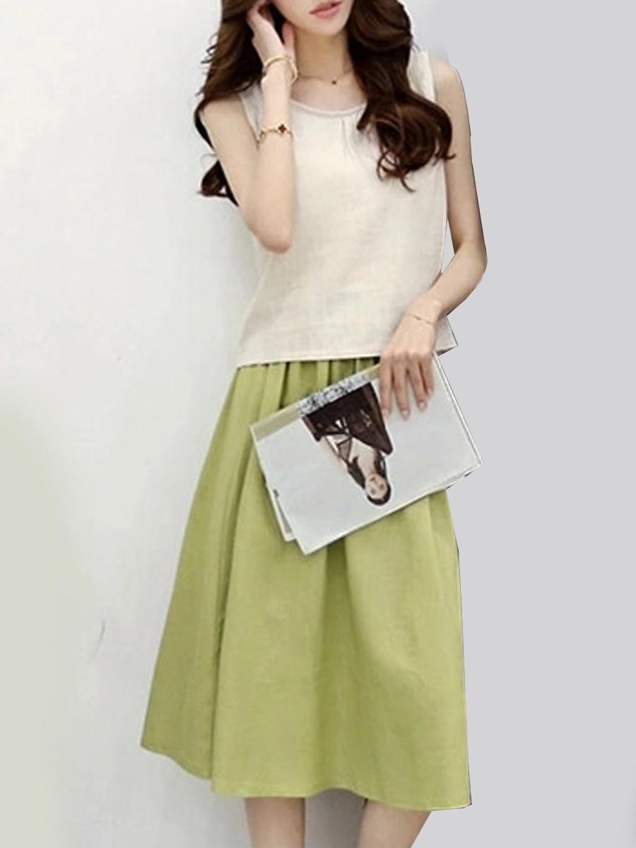 b0c20404e2 #EnvyWe #BerryLook - #berrylook Round Neck Color Block Two-Piece Maxi Dress  - EnvyWe.com