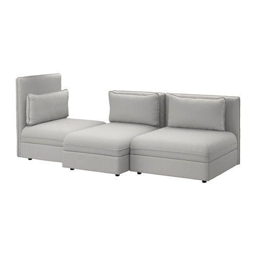 VALLENTUNA 3:n istuttava sohva IKEA Kestävät pussijouset tukevat kehoa ja mahdollistavat mukavan istuma-asennon.