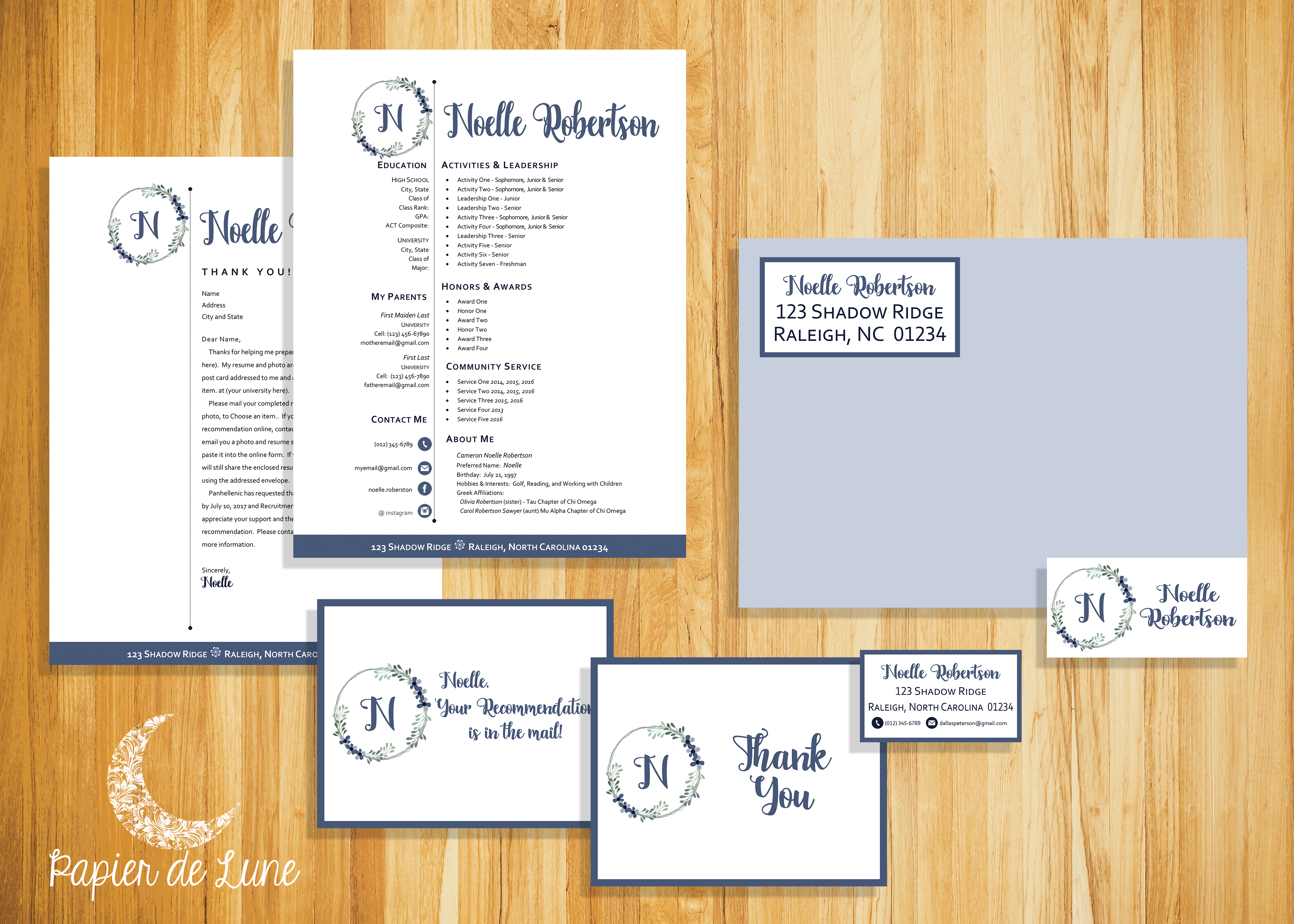 digital social resume and sorority recruitment packet resume cover business card labels postcard thank you note word format