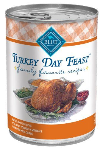$30.99-$31.08 Blue Buffalo Family Favorite Canned Dog Food, Turkey Day Feast  (Pack of 12 12.5-Ounce Cans) - Now the mouth-watering aroma of a traditional Backyard BBQ, complete with side dishes, will whet your dog's appetite for the great flavor and natural goodness of: Real beef as the first ingredient, Potatoes, Green Beans, and Carrots.  Like all BLUE dog food, Backyard BBQ has NO chicken or  ...