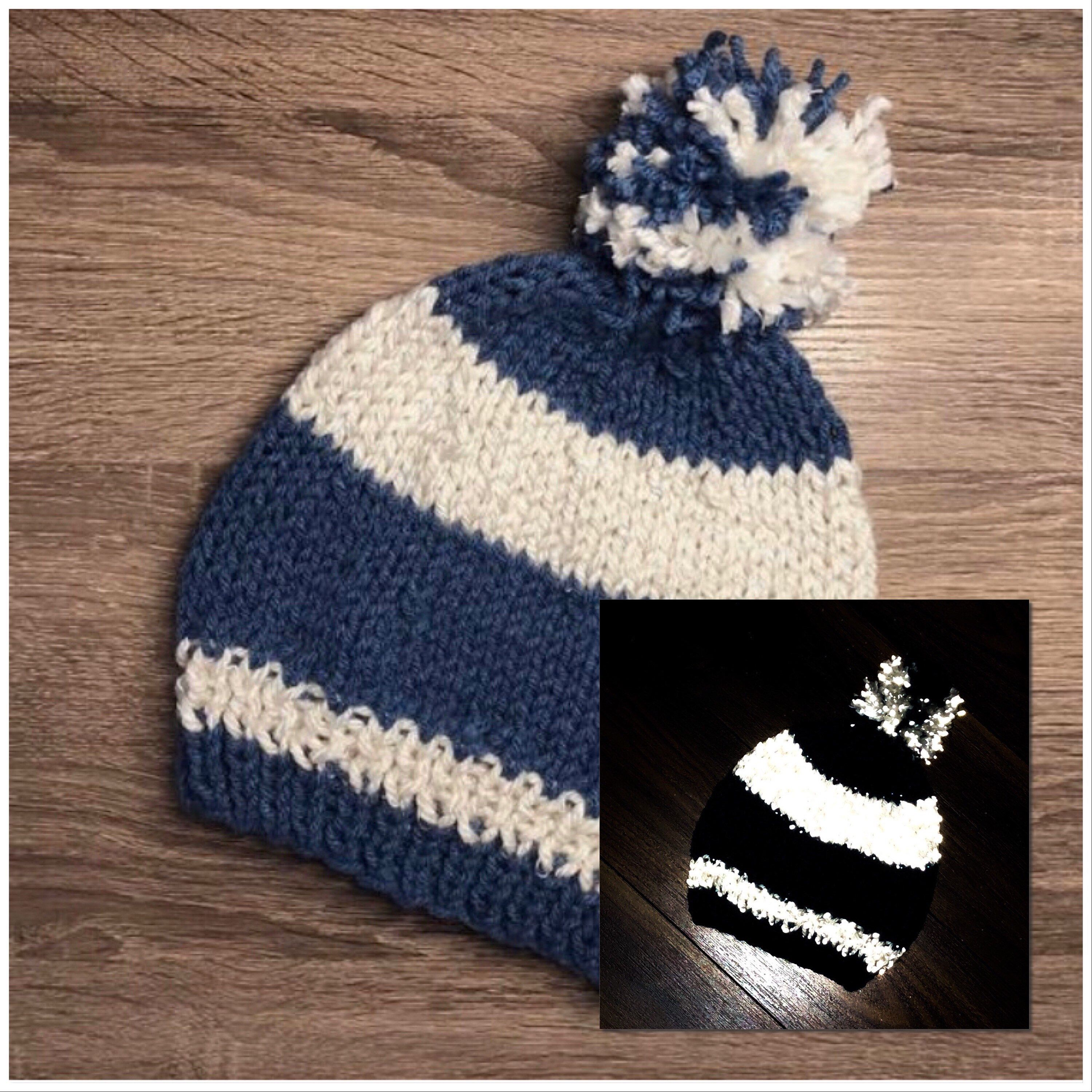 Handknit Teen Beanie with Pom Pom Christmas Gift Idea Blue and White Hand Knit Hat Two-Tone Hand Knitted Beanie Handmade Hat
