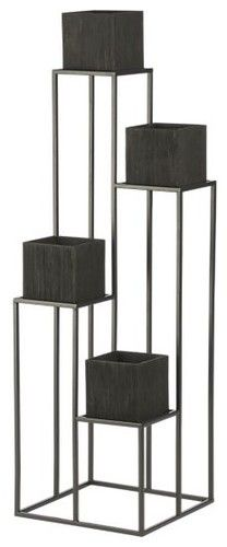 Quadrant Plant Stand With Four Planters Modern Outdoor