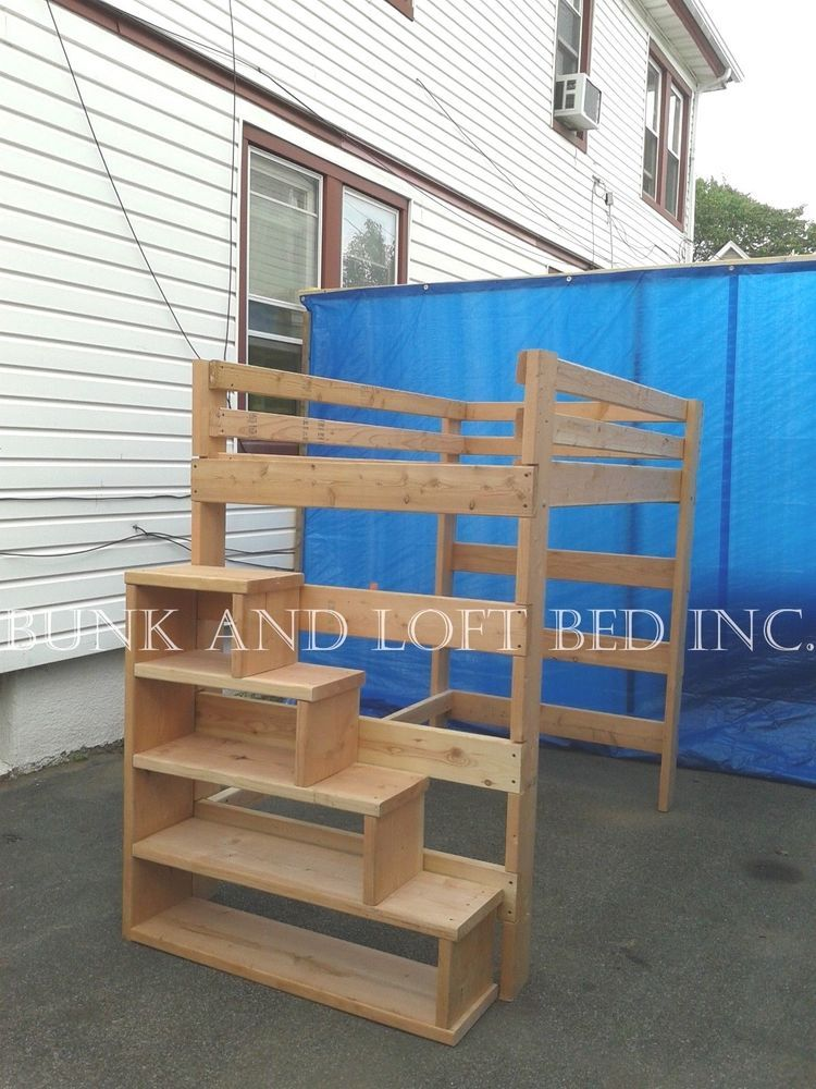 full size heavy duty loft bed with stair case shelf. Black Bedroom Furniture Sets. Home Design Ideas
