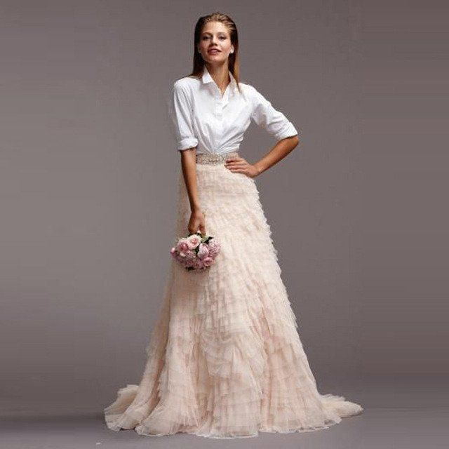 Bridal Separates: Tiered Ruffled Tulle Skirt Separates In 2019