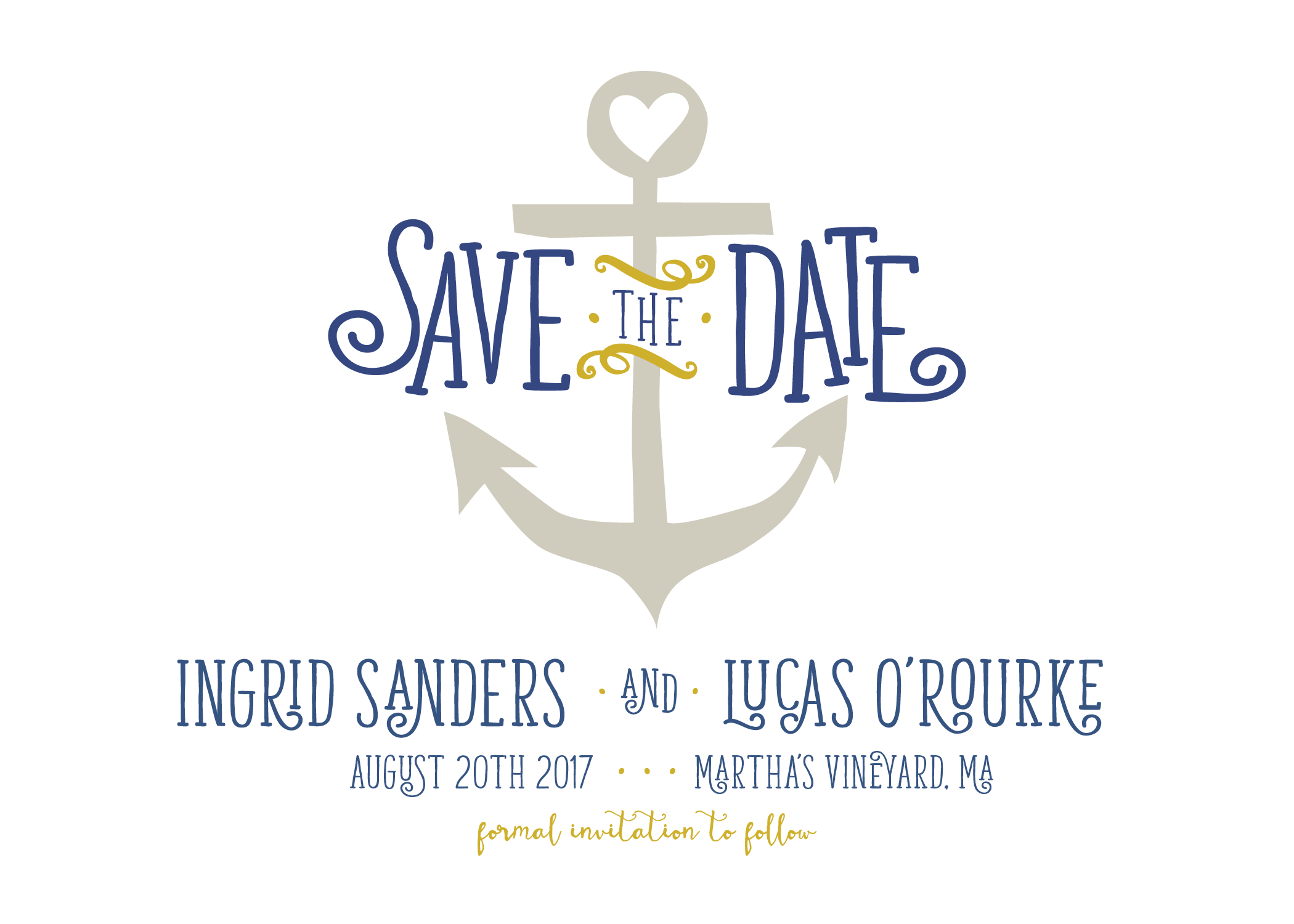 Tying The Knot Save the Date in Dress Blue by Pretty Polite Print Boutique