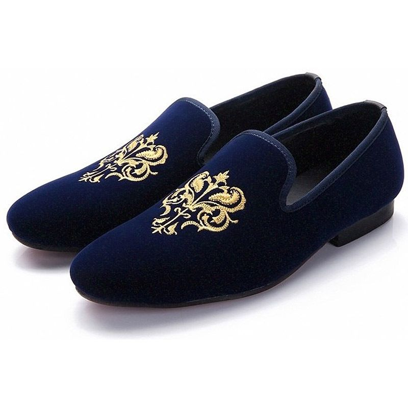 Party Wear Blue Moccasin Loafer Slip Ons Genuine Suede Handcrafted Leather Vintage Elegant Customized Leather Shoes Men Velvet Shoes Embroidered Shoes