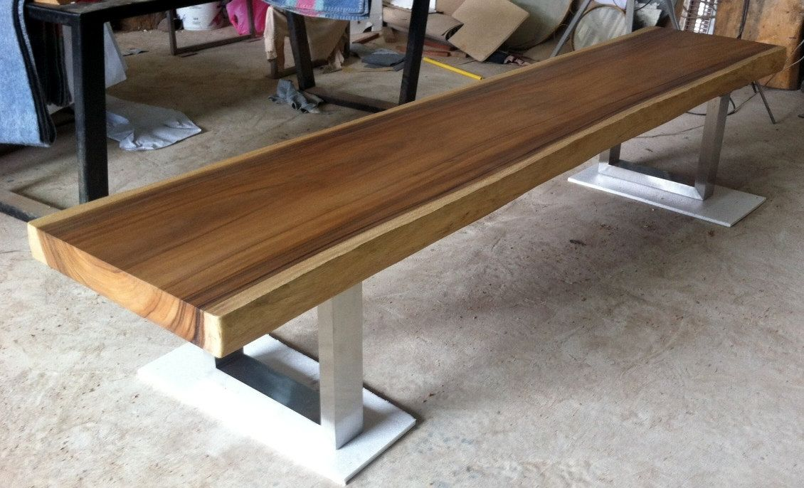 Ordinaire Live Edge Bench Table Acacia Wood Live Edge Reclaimed Solid Slab With  Stainless Steel Legs By Flowbkk On Etsy