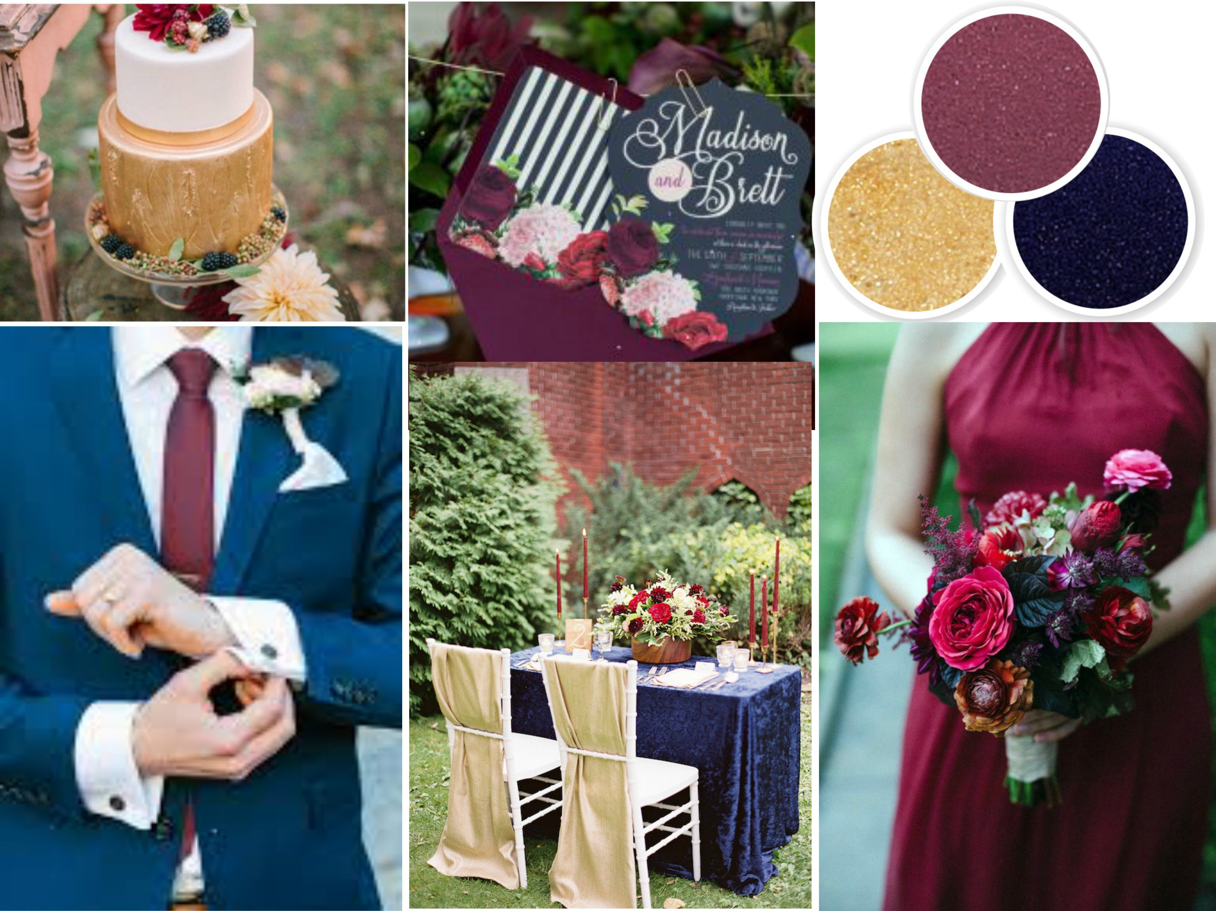 Transition into a fall wedding or winter wedding with navy, wine, and gold  wedding colors. Read on for wedding color combination ideas