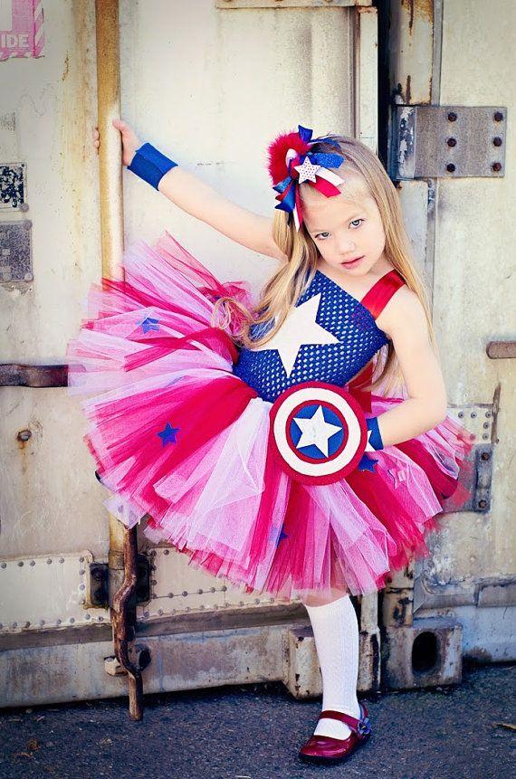 Captain Inspired Tutu Dresses,Girls Halloween Costume,Superhero TUTU Dress,Party Dress,