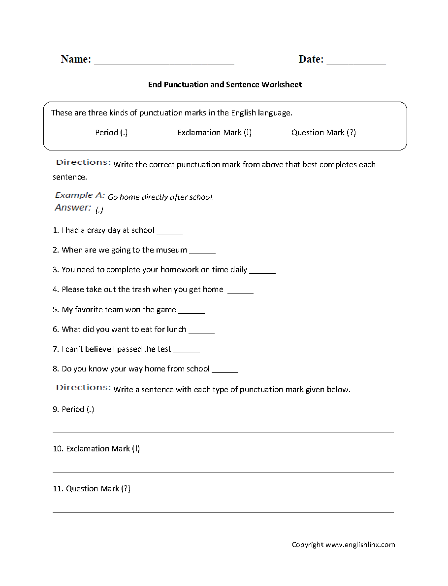 Workbooks personification worksheets : End Punctuation and Sentence Worksheet | Englishlinx.com Board ...