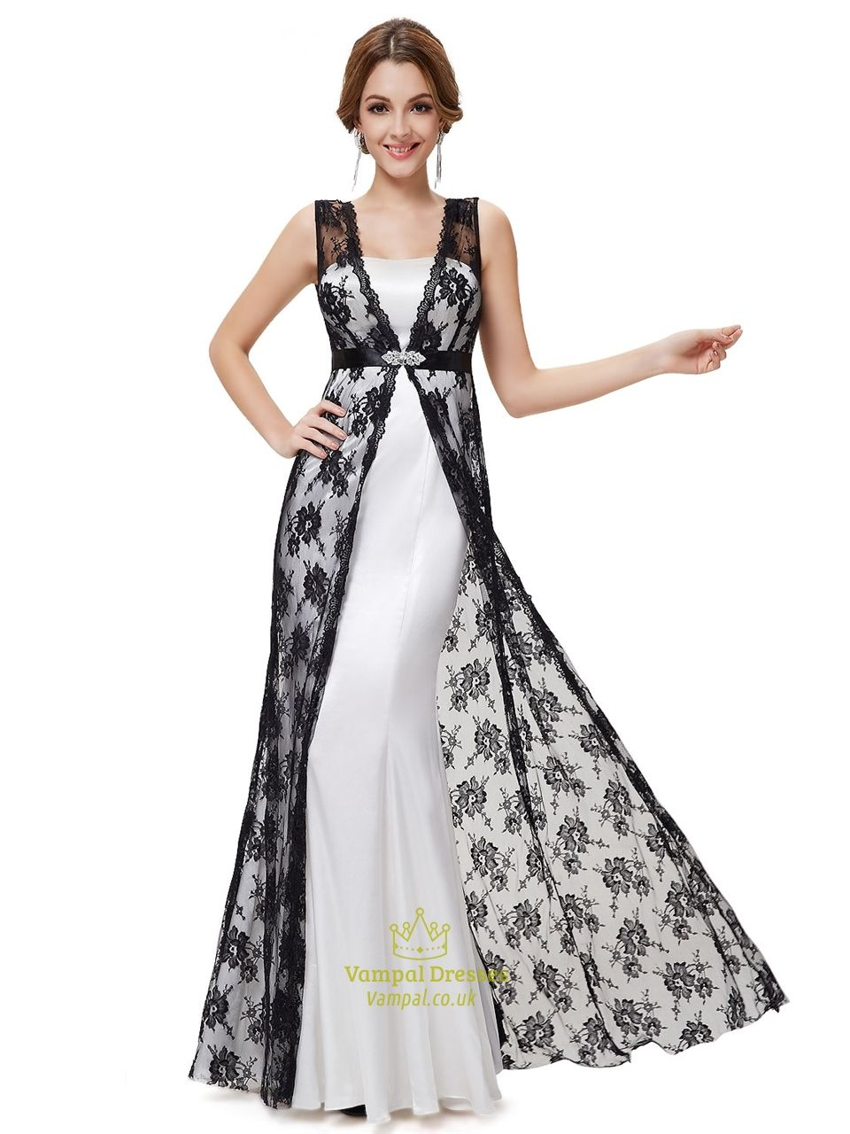 White Dress With Black Lace Overlay,White Strapless Dress With Black ...