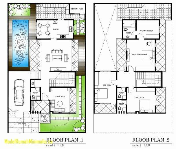Desain Rumah Minimalis 2 Lantai Dengan Kolam Renang Menawan 60 Desain Mewah 2 Lantai Dengan Kolam Renan Floor Plans House Architecture Design Floor Plan Design