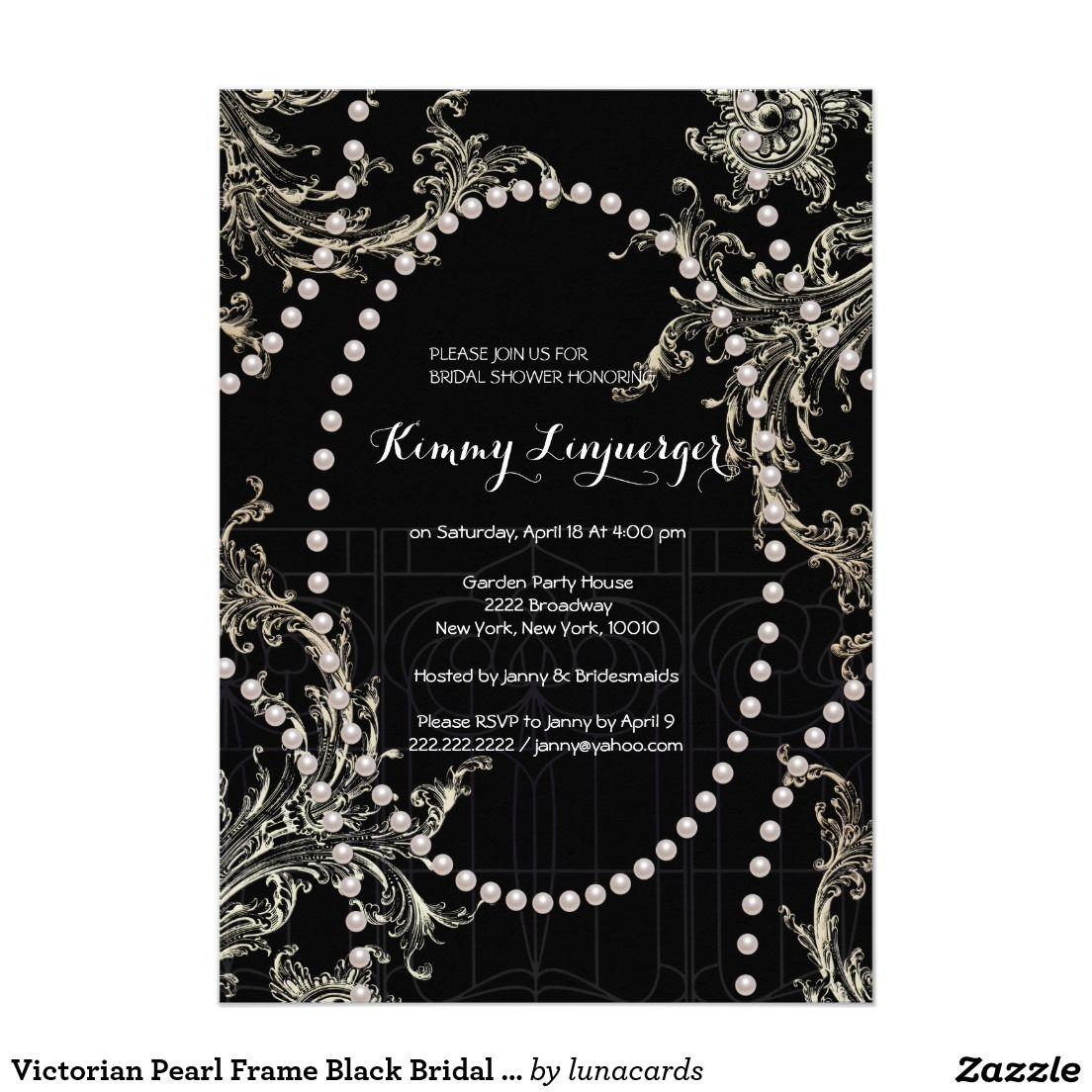 Victorian Pearl Frame Black Bridal Shower | VICTORIAN WEDDING ...