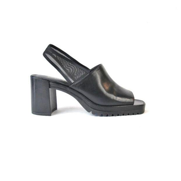 90s Black Leather Chunky Heels Black Mesh Sandals Slingback Heels Minimalist Goth Chunky Heels Black Leather Open Toe Sandals Size 9