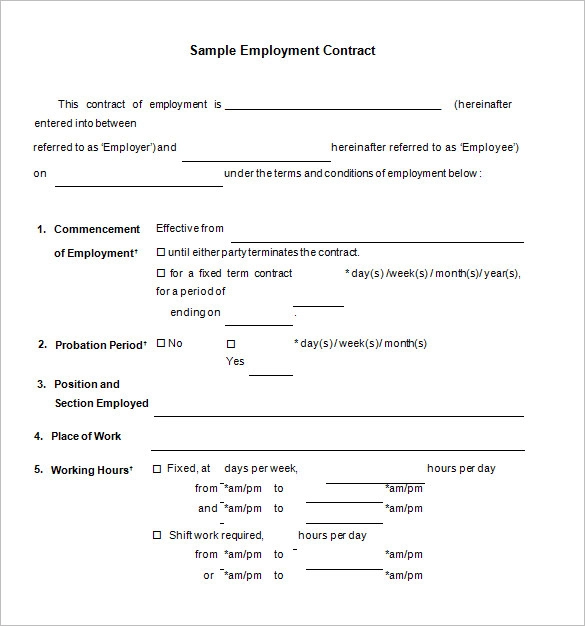 15 Free Employment Contract Templates Professional Formats In Word Pdf Contract Template Document Sign Templates