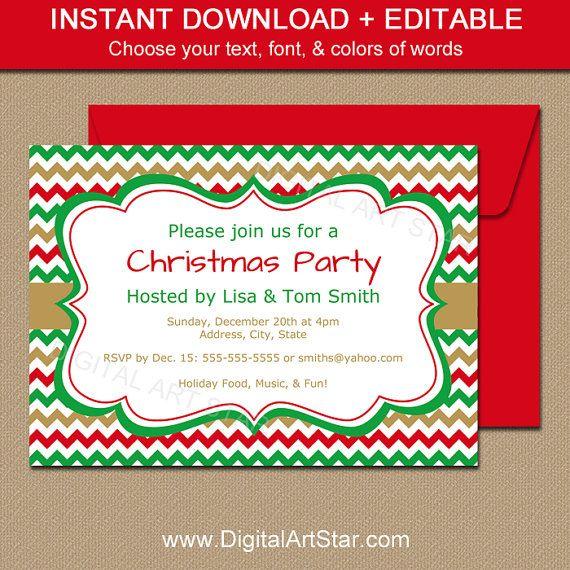 Printable Holiday Invitation Template Editable Christmas Etsy Xmas Invitations Holiday Invitations Christmas Invitations