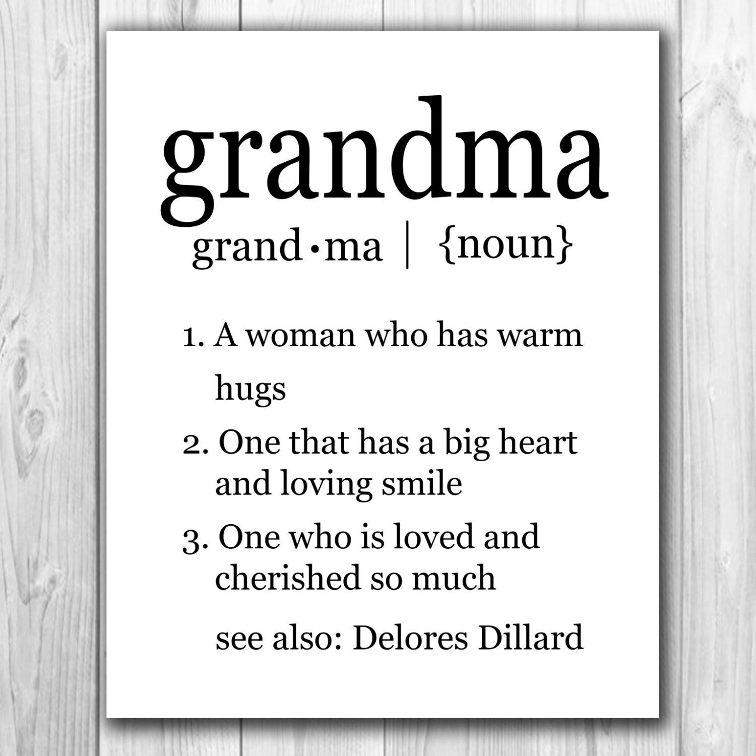 Printable Custom Grandma Definition Art Grandparents Day Gift, Christmas Gift,