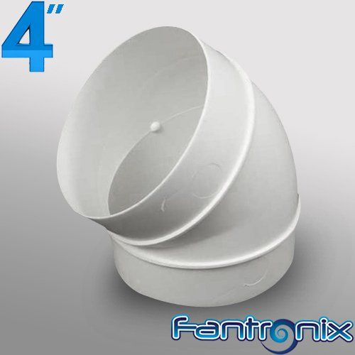 4 Inch Dia 100mm Duct 45 Degree Bend Elbow Joint Plastic