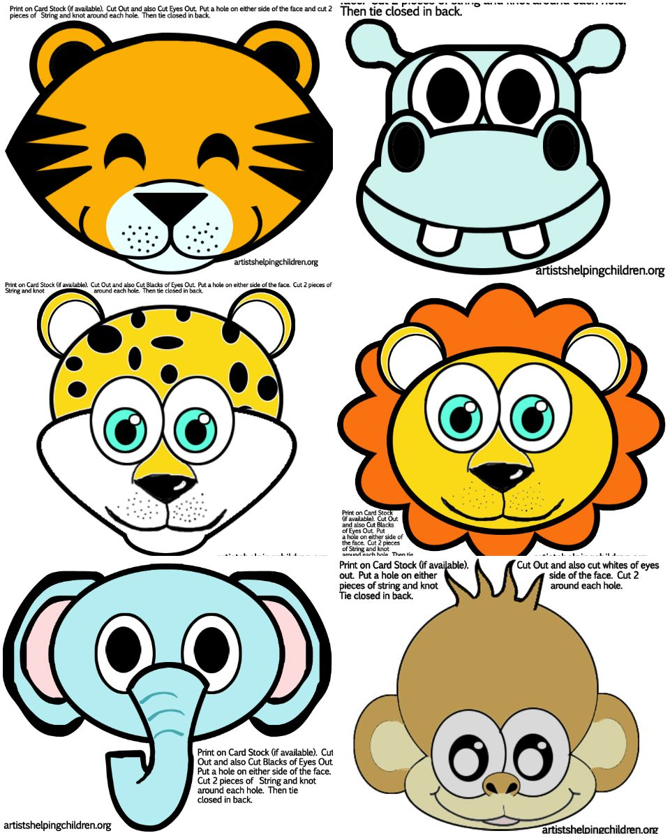 safari jungle themed first birthday party animals party masks free printable - Animal Pictures To Print Free