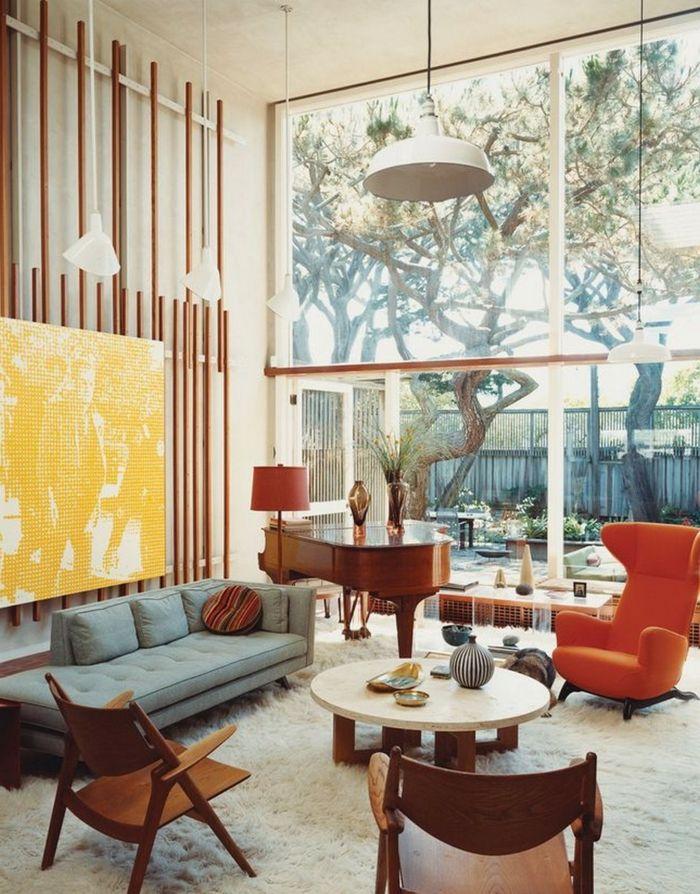 teppich wohnzimmer weiß oranger sessel klavier Wohnzimmer Ideen - design wohnzimmer weis