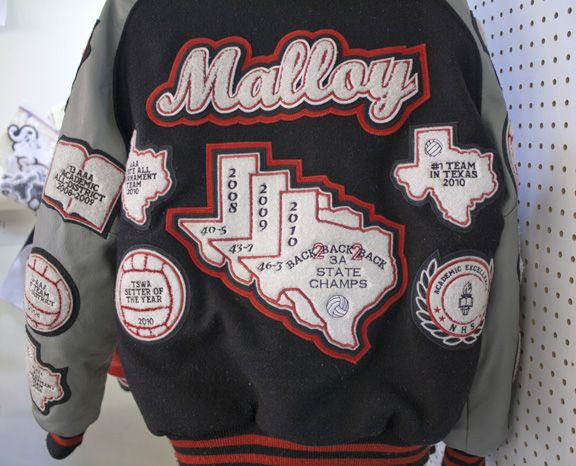 327cf16c6 Custom Letterman Jacket for a back 2 back 2 back state volleyball  championship team!