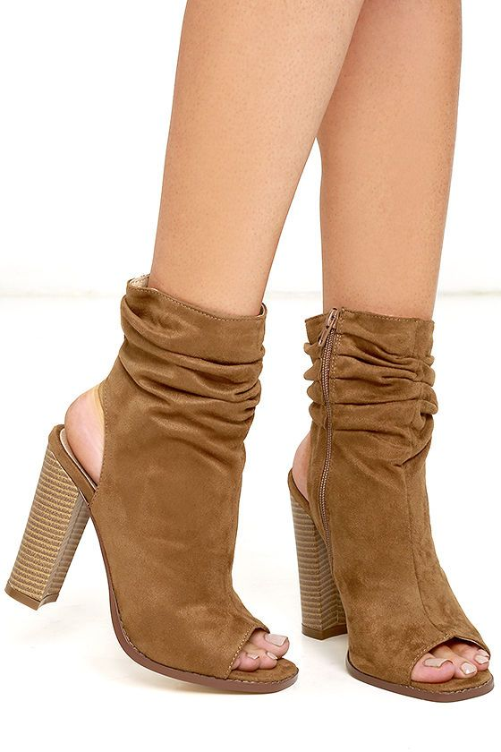 430c50395 If you expect only the chicest of chic in your closet, then the Only the  Latest Tan Suede Peep-Toe Booties are a must! From a peep-toe upper, ...