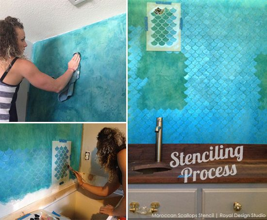 stencil ideas for a bathroom wall with metallic paint stenciling