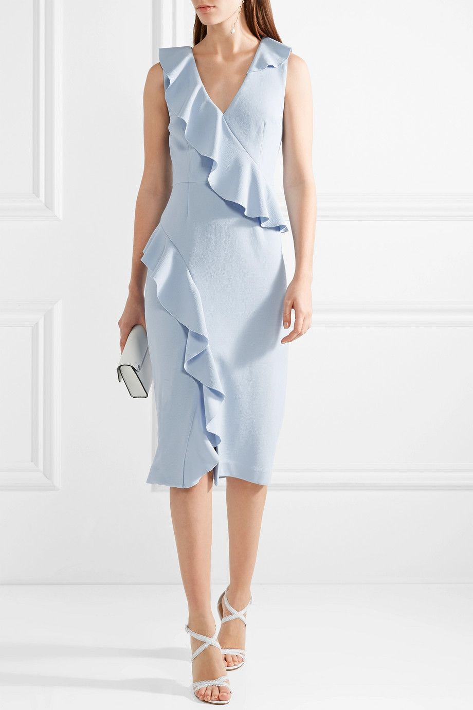 Sale Big Discount Sylvette Ruffle-trimmed Crepe Dress - Sky blue Rebecca Vallance Factory Outlet For Sale Discount Aaa bo1bKdJ2