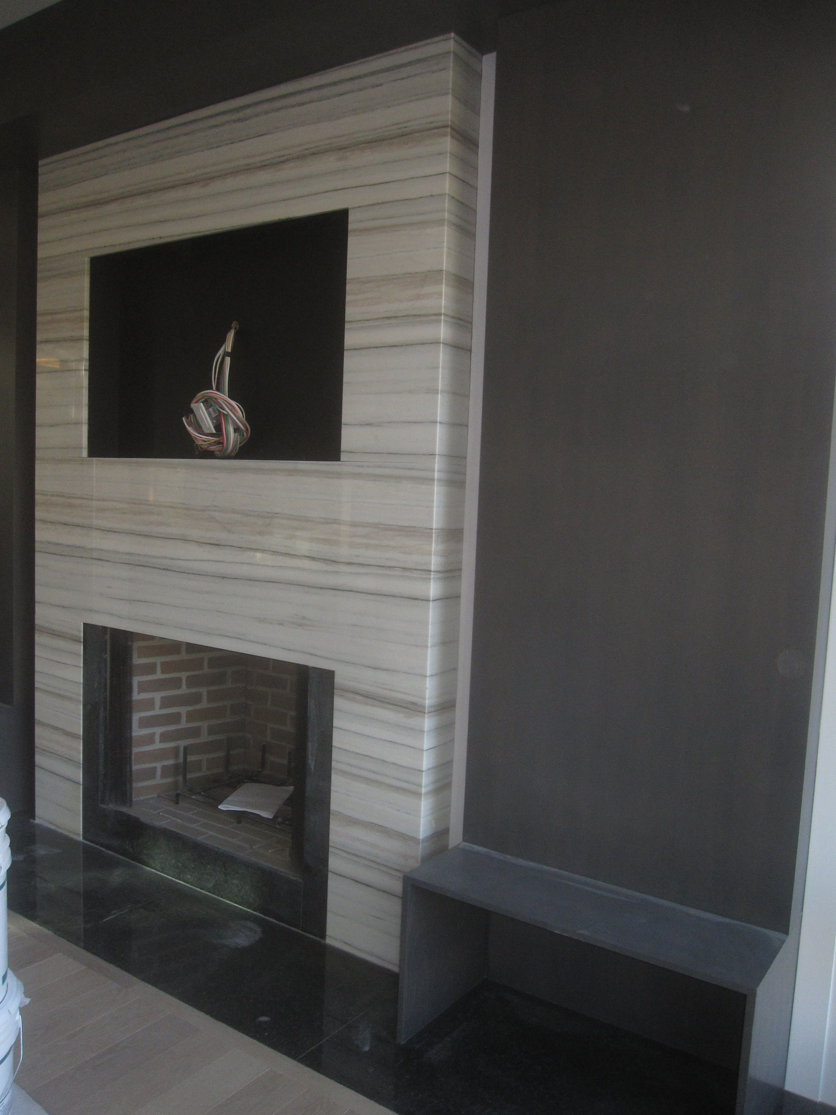 Armstrong Residence Fireplace Surround In Striato Apuano Quartzite Striato Apuano Home Inspiration Creation Fireplace Wall Faux Fireplace Fireplace Tile