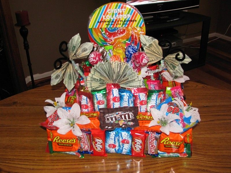 Make giving money fun by making a candy cake! Money gift