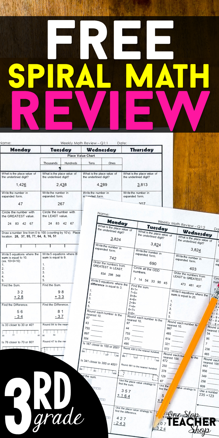 FREE 3rd Grade Math Homework or 3rd grade Morning Work. This 3rd ...