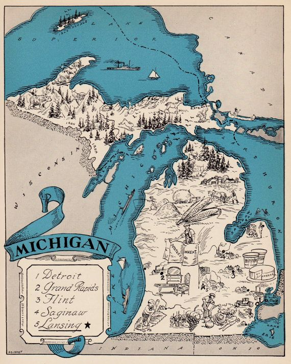 S Whimsical MICHIGAN Map Of Michigan State By OnTheWallPrints - Us map michigan state