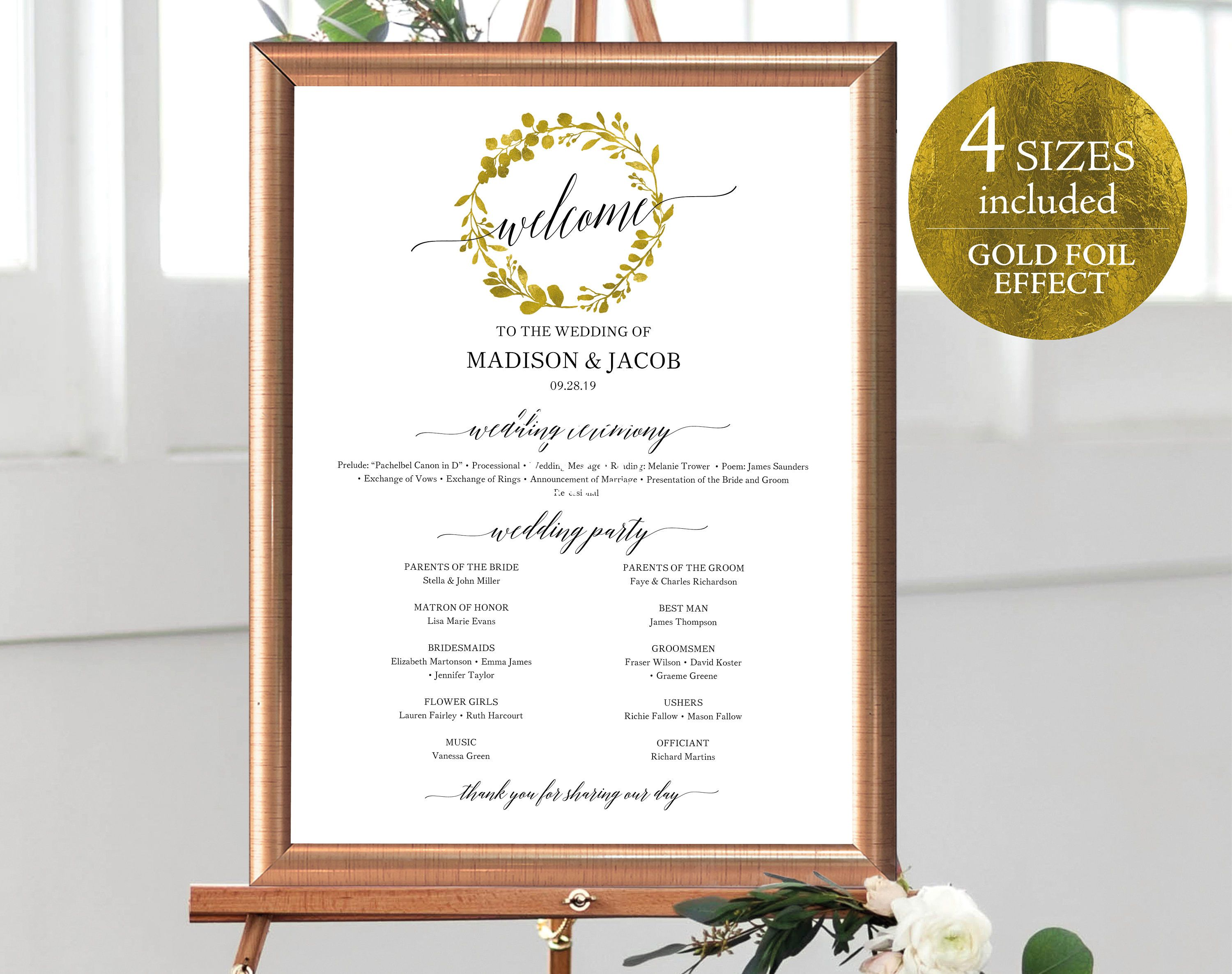 Faux Gold Wedding Program Sign Template Large Program Sign