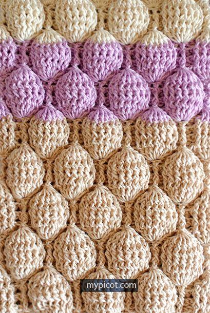 Crochet Bubble stitch + Diagram + Free Pattern | crochet stitches ...