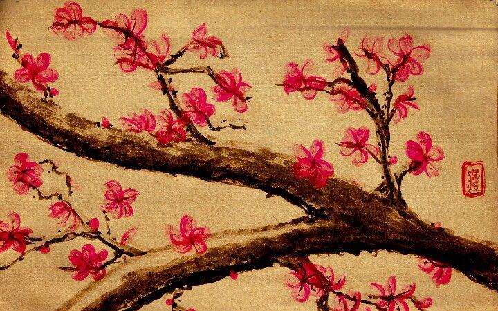 Japanese Cherry Blossom Sakura Cherry Blossom Painting Blossoms Art Cherry Blossom Pictures