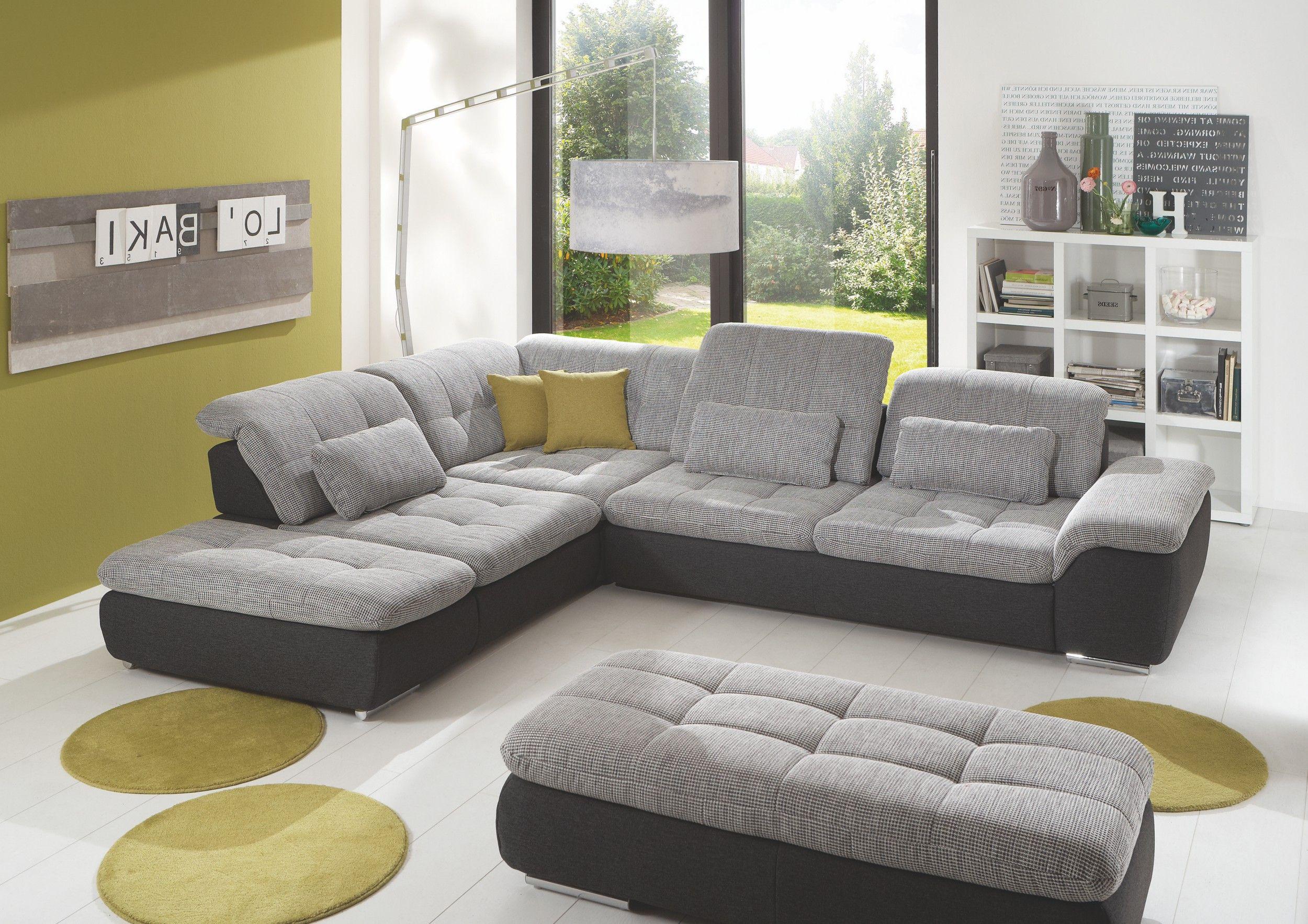 Wohnlandschaft l form mit schlaffunktion  Wohnlandschaft mit Hocker Weiss Grau Woody 80-00016 | Wohnzimmer ...